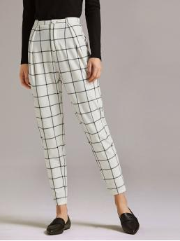 Casual Plaid Tapered/Carrot Regular Button Fly and Zipper Fly Mid Waist White Long Length Premium Button Detail Plaid Pants