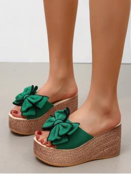 Green Wedge Sandals Bow Mid Heel Decor Mule Wedges on Sale