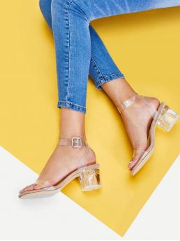 Ankle Strap Open Toe Ankle Strap Mid Heel Chunky Clear Strap Block Heeled Sandals