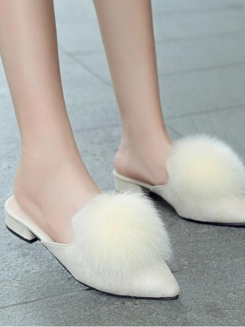 Discount Corduroy Beige Mules Buckle Pointed Toe Fluffy