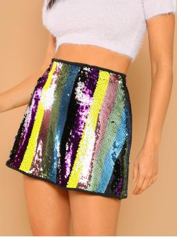 Multicolor High Waist Zipper a Line Sequin Cheap