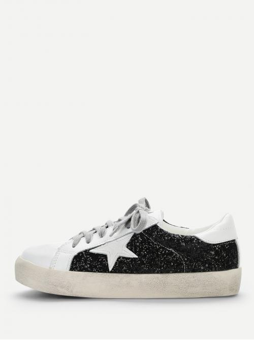 Sale Corduroy Multicolor Skate Shoes Hollow Star Detail Glitter Sneakers