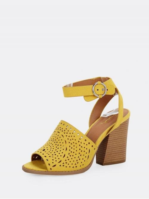 Corduroy Yellow Court Pumps Zipper Laser Cut out Detail Ankle Heeled Sandals Shopping