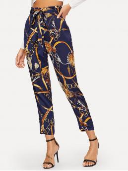 Casual Chain Print Tapered/Carrot Regular High Waist Navy Cropped Length Equestrian Print Self Belted Pants with Belt