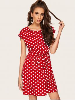 Casual Tunic Polka Dot Straight Loose Round Neck Cap Sleeve Regular Sleeve Natural Red Short Length Polka-dot Print Tied Waist Dress with Belt