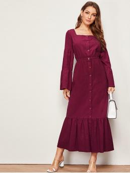 Elegant A Line Plain Flounce Loose Square Neck Long Sleeve Flounce Sleeve High Waist Burgundy Long Length Button Front Ruffle Hem Square Neck Dress