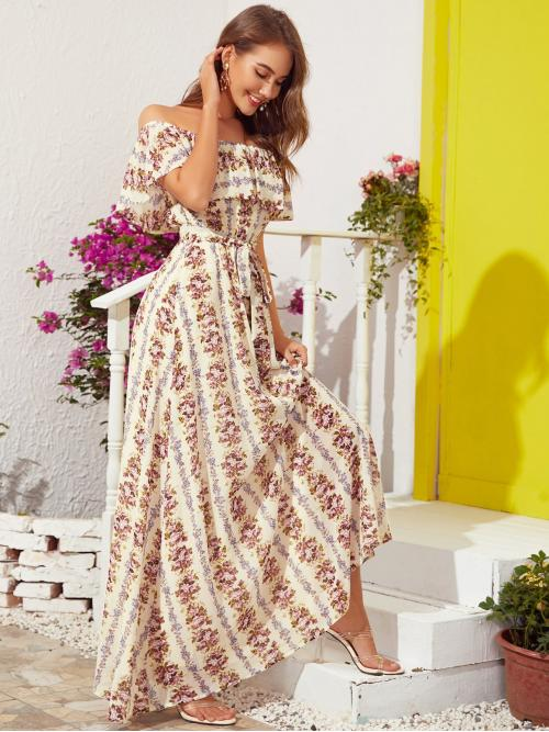 Beautiful Multicolor all over Print Belted off the Shoulder Foldover Front Self Dress