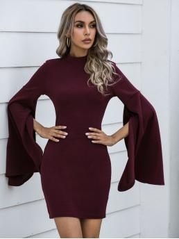 Pretty Maroon Plain Split Stand Collar Mock Neck Dress