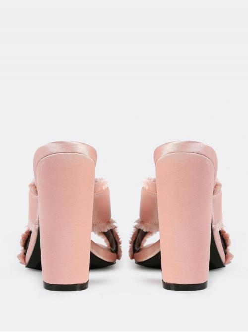 Ladies Corduroy Baby Pink Court Pumps Cut out Frayed Cross Band Mules Blush