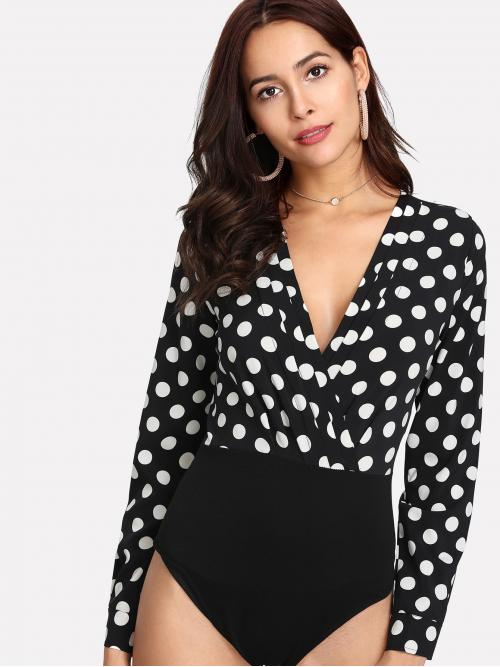 Elegant Polka Dot Regular Deep V Neck Long Sleeve Black and White Polka Dot Surplice Bodysuit