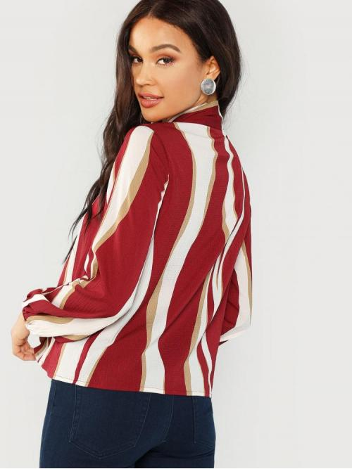 Pretty Long Sleeve Top Contrast Collar Polyester Blouse