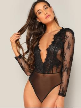 Long Sleeve Straight Leg Sheer Mesh Plunging Floral Lace Bodysuit Fashion