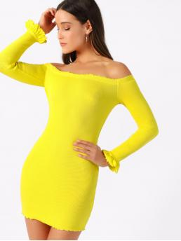 Elegant Bodycon Plain Slim Fit Off the Shoulder Long Sleeve Flounce Sleeve Natural Yellow and Bright Short Length Neon Yellow Lettuce Edge Off Shoulder Rib Dress