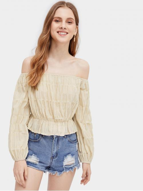 Boho Plain Peplum Regular Fit Off the Shoulder Long Sleeve Pullovers Beige Crop Length Ruffle Hem Off The Shoulder Blouse