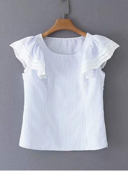 Casual Striped Top Regular Fit Round Neck Sleeveless Pullovers Blue Regular Length Ruffle Sleeve Stripe Blouse