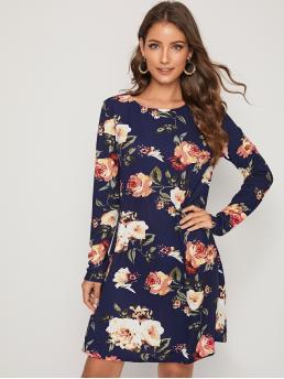 Casual Tunic Floral Straight Regular Fit Round Neck Long Sleeve Regular Sleeve Natural Navy Short Length Floral Print Tunic Dress
