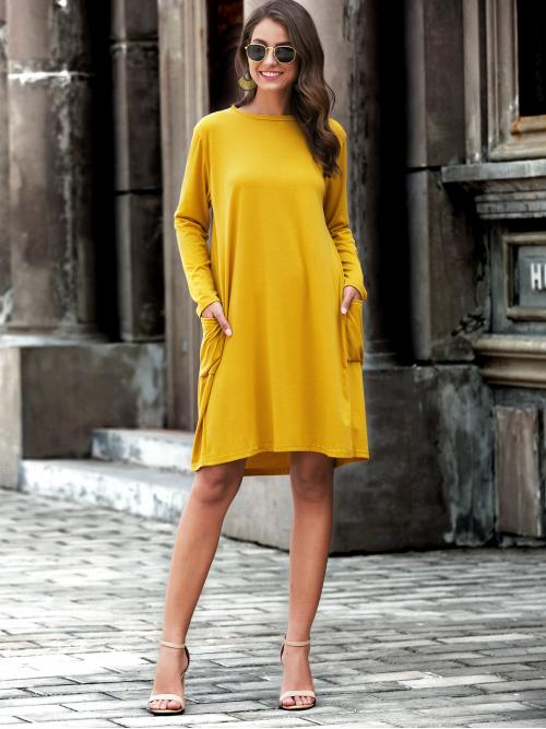 Casual Tee Plain Straight Regular Fit Round Neck Long Sleeve Regular Sleeve Yellow Midi Length Solid Dual Pocket Tee Dress