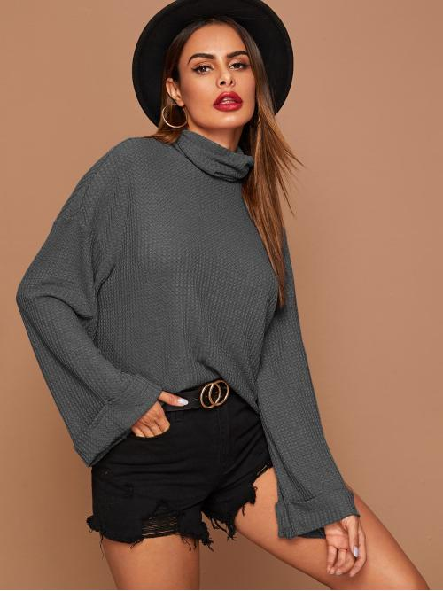 Casual Plain Regular Fit Funnel Neck Long Sleeve Roll Up Sleeve and Flounce Sleeve Pullovers Grey Regular Length Funnel Neck Rolled Cuff Bell Sleeve Waffle Knit Tee