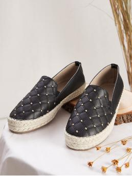 Boho Round Toe Quilted Black Studded Decor Slip On Espadrille Flats