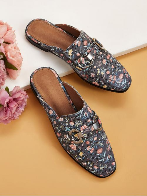 Comfort Square Toe Floral Multicolor Metal Detail Floral Graphic Flat Mules