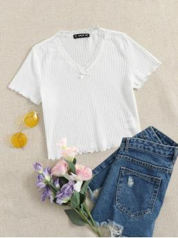 Short Sleeve Bow Front Polyester Plain Waffle Knit Lettuce-edgeped Tee Beautiful