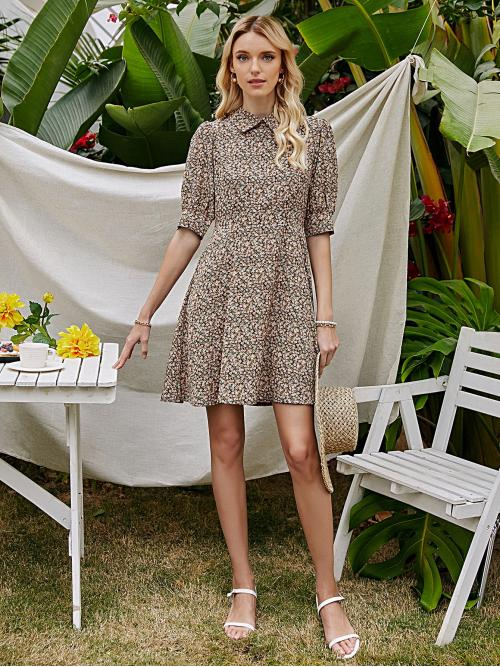 Multicolor Ditsy Floral Button Peter Pan Collar Dress on Sale