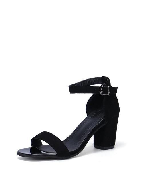 Black Strappy Sandals Mid Heel Chunky Two Part Block Heeled Sandals Cheap