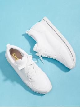 Other Round Toe Lace Up White Lace Up Low Top Sneakers