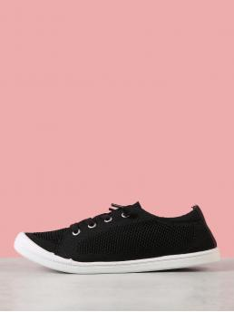 Round Toe Black Low Heel Mesh Knit Lace Up Low Top Sneaker