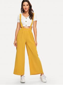 Yellow High Waist Knot Wide Leg Back Pants with Strap Discount
