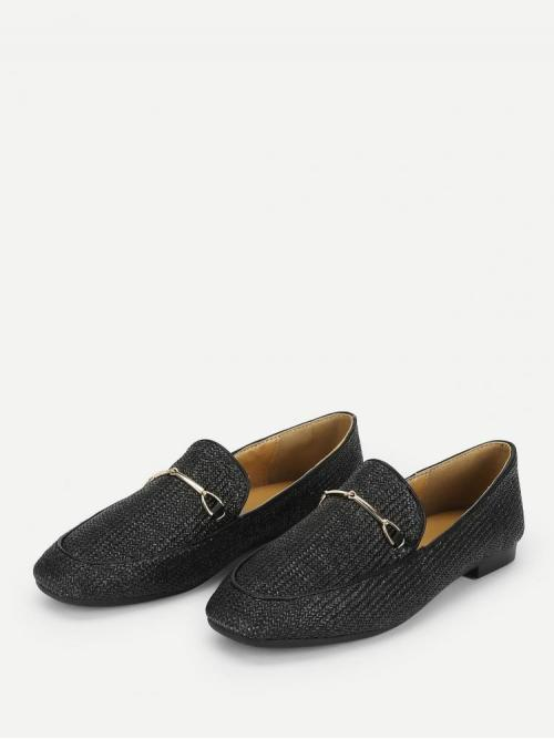 Corduroy Black Loafers Rhinestone Metal Detail Flats Discount