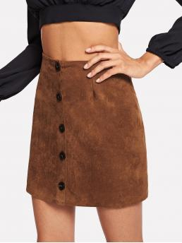 Rust Brown Natural Waist Button Straight Suede Single Breasted Solid on Sale