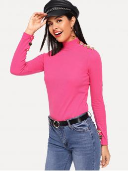 Elegant Plain Slim Fit Stand Collar Long Sleeve Pullovers Pink and Bright Regular Length Neon Pink Button Detail Mock Neck Tee