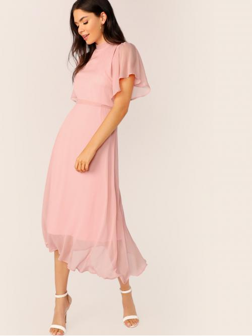 Elegant A Line Plain Regular Fit Stand Collar Short Sleeve Butterfly Sleeve High Waist Pink and Pastel Long Length Flutter Sleeve Frill Trim Tie Back Solid Dress with Belt with Lining