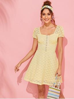 Romantic A Line Plain Flared Regular Fit Square Neck Short Sleeve Puff Sleeve High Waist Yellow and Pastel Short Length Hook and Eye Placket Floral Lace Dress with Lining