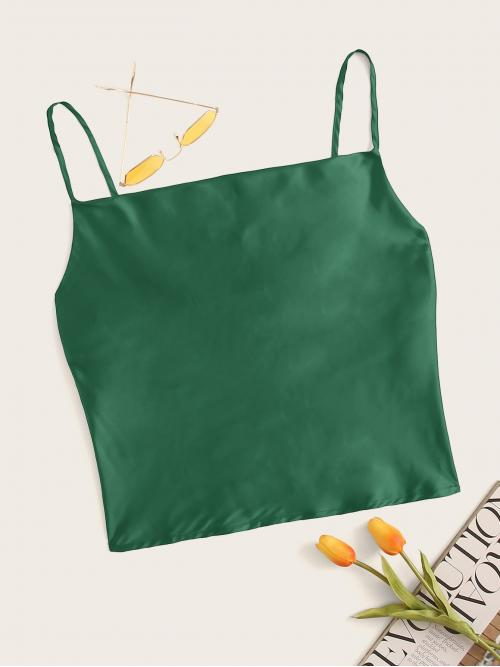Casual Cami Plain Regular Fit Spaghetti Strap Green Crop Length Satin Solid Cami Top