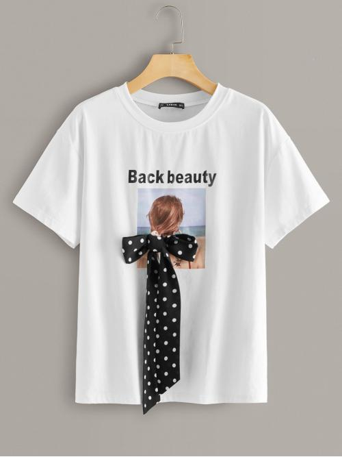 Casual Figure and Slogan Regular Fit Round Neck Short Sleeve Regular Sleeve Pullovers White Regular Length Bow Detail Slogan and Figure Print Top