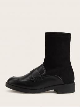 Comfort Other Round Toe No zipper Black Loafers Design High Top Boots