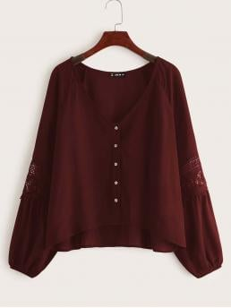 Boho Plain Asymmetrical Shirt Regular Fit V neck Long Sleeve Bishop Sleeve and Raglan Sleeve Placket Burgundy Regular Length Buttoned Front Guipure Lace Insert Sleeve Blouse
