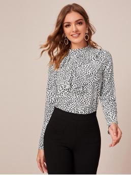 Elegant All Over Print Top Regular Fit Stand Collar Long Sleeve Regular Sleeve Pullovers Black and White Regular Length Dalmatian Print Jabot Collar Top