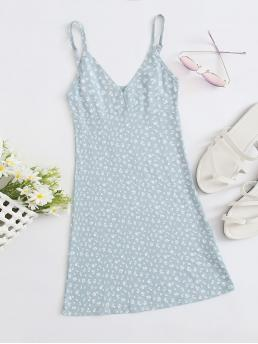 Boho Cami Ditsy Floral Flared Regular Fit Spaghetti Strap Sleeveless High Waist Blue and Pastel Short Length Ditsy Floral Print Cami Dress