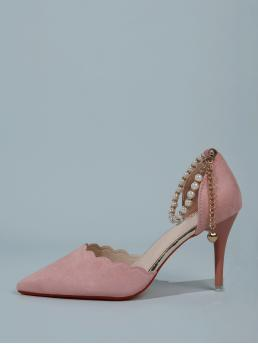 Pink Court Pumps Scallop Ultra High Heel Faux Pearl Decor Heels on Sale