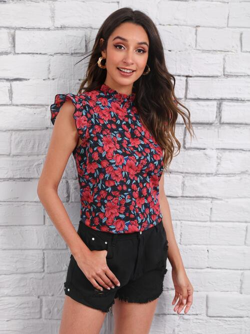 Sale Cap Sleeve Top Frill Polyester Neck Top