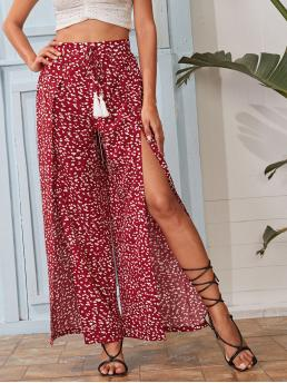 Burgundy High Waist Tie Front Wide Leg Knot Waist Split Thigh Allover Print Pants Beautiful