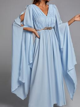 Dusty Blue Plain Ruched Bust V Neck Solid Cape Sleeve Dress Cheap
