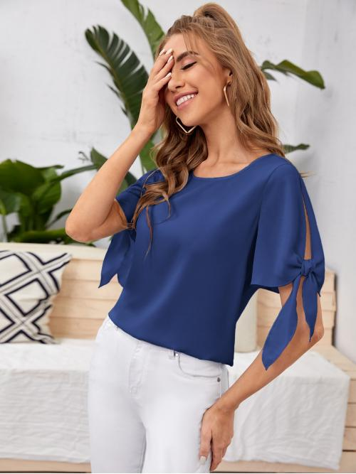 Fashion Short Sleeve Top Knot Polyester Cuff Solid Blouse