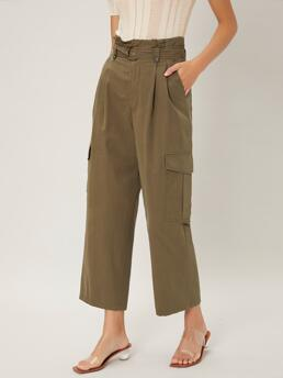 Army Green High Waist Paper Bag Waist Cargo Pants 100% Cropped Cargo Pants on Sale
