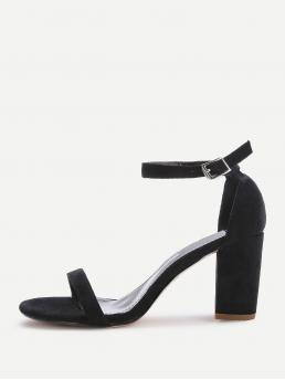 Business Casual Open Toe Plain Ankle Strap Black High Heel Chunky Two Part Block Heeled Sandals