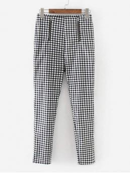 Casual Gingham Tapered/Carrot Regular Zipper Fly Mid Waist Black and White Cropped Length Zipper Detail Gingham Pants
