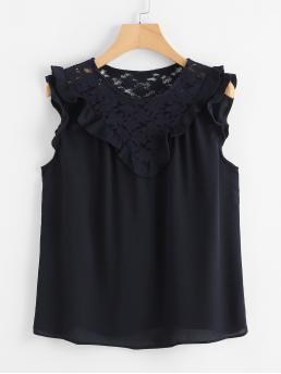 Casual Plain Top Regular Fit Round Neck Sleeveless Navy Floral Lace Insert Frill Detail Top